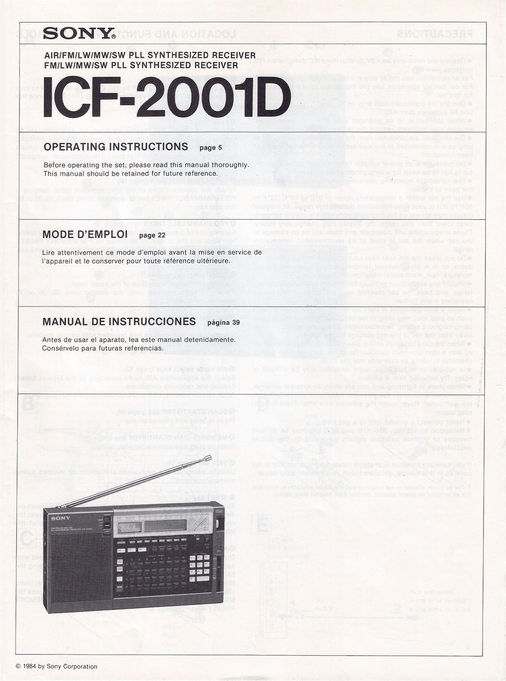 sony icf c218 instruction manual